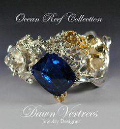 """An impressive 62ct London Blue Topaz adorns this """"Ocean Reef"""" cuff."""
