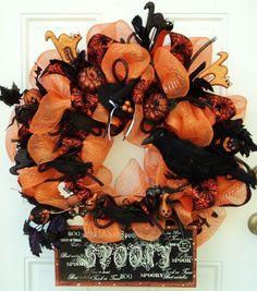 halloween mesh wreaths | Halloween Deco Mesh Wreath Cats Crow by ViennaSparkleWreaths