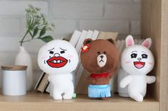 """SNS LINE FRIENDS BROWN CONY MOON Plush Toy Stuffed Character Doll 7"""" (3Types) #LINEPLUS #StuffedToy"""