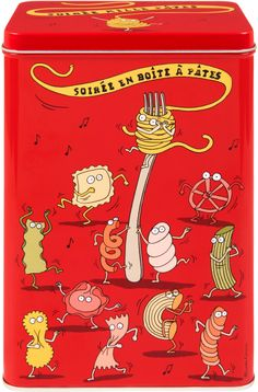 Plåtburk Makaroner röd. Looks like a lot of #pasta fun to me #packaging : ) PD