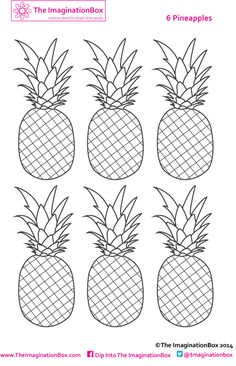 Six Pineapples To Color Make Into Mini Bunting If You Want Use The Theme Discuss Importance Of Fruit In Your Kids Diet Free Download