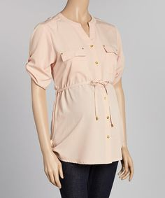This Blush Maternity Button-Up Top - Women - Women by Oh! Mamma is perfect! #zulilyfinds