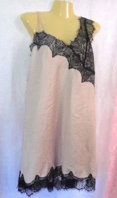 NWOT LANE BRYANT CACIQUE Chemise PINK with BLACK Lace Nightie Teddy #LaneBryantCacique