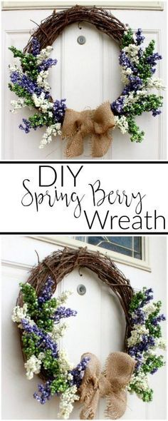 You can make this easy DIY Spring Berry Wreath using dollar store florals and a regular grapevine wreath form in less than 15 minutes.