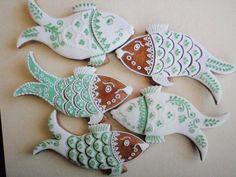 Fish Cookies Fish Cookies, Iced Cookies, Cupcake Cookies, Cupcakes, Summer Cookies, Royal Icing, Cookie Decorating, Christmas Cookies, Cookie Cutters