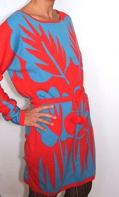 Marimekko Rare Womens Merino Wool Sweater Tunic Dress Red and Blue Knit ~ Medium #Marimekko #Tunic #Casual