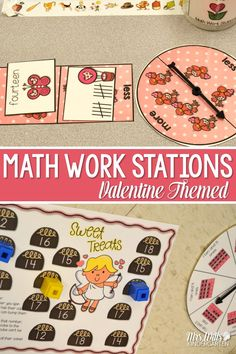 8 math stations for kindergarten with differentiation for Valentine fund and games! Activity cards can be used 5 different ways: sort, compare more and less, memory, play Go Fish, plus an additional game. These cards feature the numbers presented in different ways: Numerals, number words, ten-frames, and tally marks. Valentine math games!