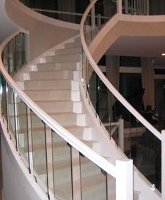 Curved Staircase with Glass Balustrade | Grand Staircase