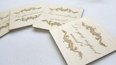 Set of 4 balsa wood coasters Engraved with your message by TreeX