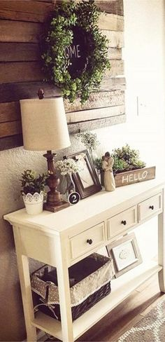 Entry way, home decor, rustic, diy decor, home decor, green wreath, home sign, wood sign, hello, shelf decor, tablet, storage bench, wall Decor, pillows, blankets, letter decor, stairs, gray, lights, lamp, side board, tablet, living room, dining room, family room, kitchen,  pillows, try way, modern country #ad #az