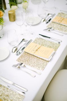 Glitter and sparkle table settings