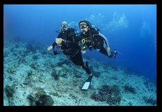 """""""Underwater Personalities"""". Grabbing ourselves to the anchor, otherwise we would have gone with the strong flow instead of watching turtles, je. """"Turtles Reef"""", Q. Roo. MEXICO.  .Patty Aguirre & 'Beto' Friscione.  .Photographer: Hilario Itriago."""