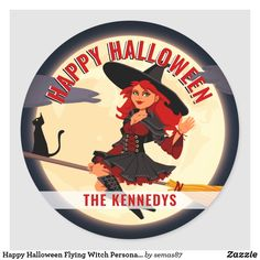 Happy Halloween Flying Witch Personalized Favor Classic Round Sticker Halloween Stickers, Halloween Cat, Happy Halloween, Family Halloween, Halloween Party Supplies, Halloween Decorations, Flying Witch, Personalized Favors, Candy Party