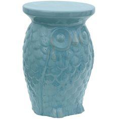 Carved Owl Porcelain Garden Stool