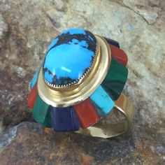 Vintage 14kt Gold Inlaid Ring by Saunsa - Estate Jewelry
