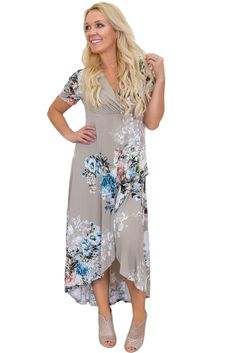 9fad1895f38 Cheap Taupe Floral Print High Low Wrap Dress only US  12.88