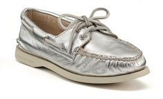 Sperry's — silver leather.