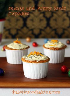 Orange and Poppy Seeds Cupcakes #orange #cupcakes #healthy