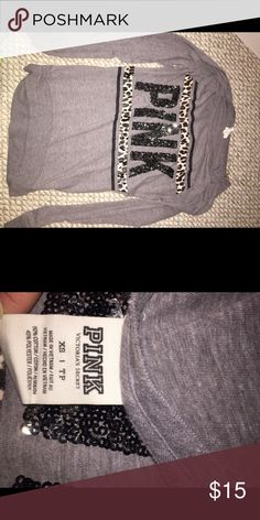 Shirt from Pink. Grey with cheetah and sequins. XS PINK Victoria's Secret Tops Tees - Long Sleeve