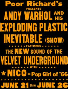 Andy Warhol's Exploding Plastic Inevitable is also the title of a 18 minute film by Ronald Nameth with recordings from one week of performances of the shows which were filmed in Chicago in 1966. Description from xtimeline.com. I searched for this on bing.com/images