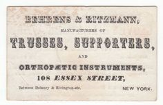 1860's/70's trade card for Behrens & Ritzmann Mfg. of Orthopedic Instruments