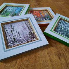 """Fiindcă primul set de """"Anotimpuri"""" miniaturale a avut succes și a ne-a stârnit, am venit cu variante noi. La acesta, am personalizat ramele din lemn, pictându-le cu acrilice, dând în mod voit o notă de imperfecțiune, de artizanat, ceva mai """"altfel"""", intim, în ton cu paleta coloristică a imaginilor. Picturile sunt realizate tot cu vopsele de ulei, """"cuțit"""" și pensulă, pe suport lemnos. Dimensiunile, aproximativ 17x17 cm/buc. Prețul: 320 lei. Frame, Home Decor, Picture Frame, Decoration Home, Room Decor, Frames, Home Interior Design, Home Decoration, Interior Design"""
