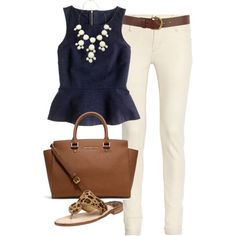 a day in summer outfit White, navy with a touch of beige and brown