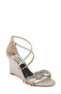 Nordstrom Store, Embellished Sandals, Badgley Mischka, Silver Glitter, Clear Crystal, Wedge Sandals, Open Toe, Marie, Wedges