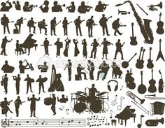 58 ideas music instruments vector silhouette for 2019 Music Silhouette, Silhouette Vector, Free Vector Images, Vector Free, Vector Vector, Vector Stock, Music Tattoos, Icon Collection, Banner Vector