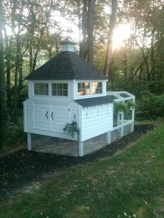 How cool would this chicken coop be in the garden.