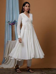 White Cotton Georgette Flared Angrakha Kurta with Modal Pants and Dupatta- Set of 3 Frock For Women, White Dresses For Women, White Maxi Dresses, Frock Style Kurti, Angrakha Style, Simple Kurta Designs, Kurta Designs Women, Cotton Frocks, Cotton Dresses