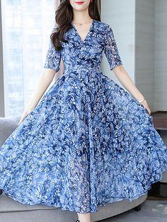 V Neck Floral Printed Maxi Dress - Fashion & Dresses Cheap Maxi Dresses, Modest Dresses, Ladies Dresses, Modest Clothing, Long Dresses, Women's Clothing, Dress Silhouette, Maxi Dress With Sleeves, Chiffon Maxi Dress