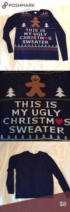 Women's Ugly Christmas Sweater Women's navy blue ugly Christmas Sweater. Pullover crewneck only worn once. Xhilaration Sweaters Crew & Scoop Necks