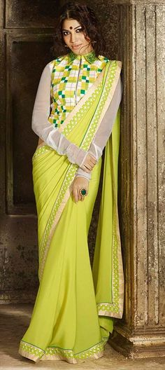 Green sari with checkered blouse Green satin georgette Green sari with golden Comes with matching unstitched blouse material Indian Wedding Outfits, Indian Outfits, Indian Beauty Saree, Indian Sarees, Green Sari, Indian Clothes Online, Sexy Blouse, Yellow Fashion, Party Wear Sarees