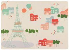 $24 Cork Backed Placemats, Bonjour Paris, Set of 4