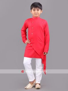 Royal Red Layered Kurta is made from Linen fabric. It has one side stylish buttons to enhance the attire look. Comes with Off white color bottom. Kids Kurta, Kurta Men, Layered Kurta, Boys Kurta Design, Kids Wear Boys, Kids Ethnic Wear, Indian Groom Wear, Kurta Patterns, Stylish Shirts