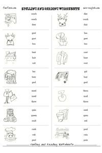 Free spelling worksheet maker, free reading worksheets, printable phonics worksheets, 100% customizable, with images