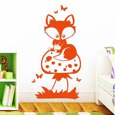 Wandtattoos - Wandtattoo Fuchs auf Pilz Füchsen Waldtiere - ein Designerstück von wandtattoo-loft bei DaWanda