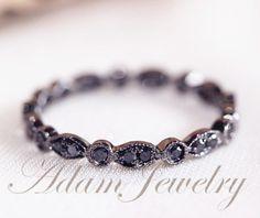 Milgrain Black Diamond Ring/ 14k White Gold Wedding Band / Full Eternity Band/ Engagement Ring/ Wedding Band/ Anniversary Ring