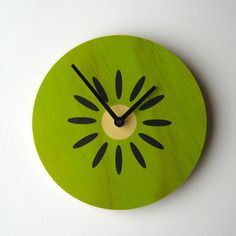 this would be a great kitchen clock! | Kiwifruit Clock Green