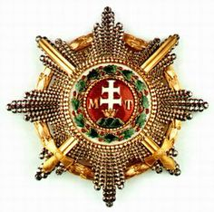 Saint Stephen Order Grand Cross breast star, with WD, and gold swords. Military Decorations, War Medals, Military Orders, Grand Cross, Saint Stephen, Maltese Cross, Royal Jewelry, Chivalry, Coat Of Arms