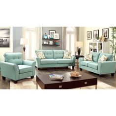 Furniture of America Primavera Modern 3-Piece Linen Sofa Set - Overstock™ Shopping - Great Deals on Furniture of America Sofas & Loveseats