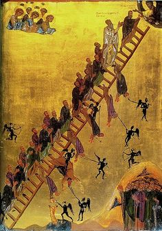 The Ladder of Divine Ascent or The Ladder of Paradise. A icon described by John Climacus. Monastery of St Catherine, Mount Sinai. Religious Images, Religious Icons, Religious Art, Byzantine Icons, Byzantine Art, Saint Catherine's Monastery, Jacob's Ladder, Heaven And Hell, Orthodox Icons