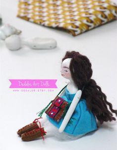 A finished doll on my studio table.  www.dedalos.etsy.com
