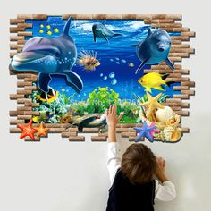 3D Fish Seabed Wall Sticker Nursery kids room wall Decals Baby Decor Underwater World Fish Ocean Wallpaper home decoration