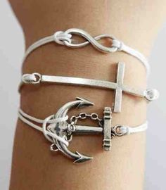 Infinity, Anchor & Cross White Wax Chord Bracelet - Black & White Boutique LLP