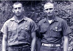 "Capt. Martin Christopher Higgins (left) and SSgt. Julius Blanchard Hopkins, ""E"" Co., Second Battalion, Seventh Regiment both awarded Silver Star Medals for their actions on 15 June, 1967 during Operation Arizona. - Armchair General and HistoryNet >> The Best Forums in History"