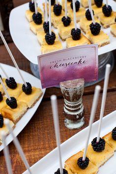 Beautiful watercolored dessert labels. So, so gorgeous.    Blackberry cheesecake bites. Desserts by Erin Blackburn.
