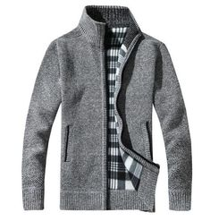 2018 Mens Wool Cardigan Sweaters Men'S Thick Stand Collar Pullover Full Sleeves Slim Solid Mens Sweaters Light gray L Knit Jacket, Wool Cardigan, Sweater Jacket, Wool Sweaters, Pullover Sweaters, Men Sweater, Sweater Fashion, Cardigans, Nylons