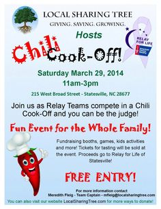 Its this weekend in Historic Downtown Statesville (DSDC)! Cornhole, Chili Cook-Off, Bouncy House, Vendors, Raffles and so much more! Proceeds go to Relay for Life to help in the fight against cancer! Bouncy House, Chili Cook Off, Relay For Life, Deal Sites, Fundraising Ideas, Fun Events, Cornhole, Cancer, March